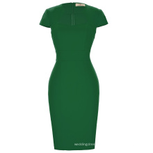 Grace Karin Ladies Dark Green Hips Wrapped Cap Sleeve Retro Vintage Pencil Bodycon Dress CL008947-5