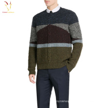 Men's Multi-color Cable Knit Crew Neck Merino Wool Sweater