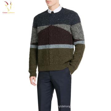 Многоцветные мужская кабель вязать экипажа шею свитер