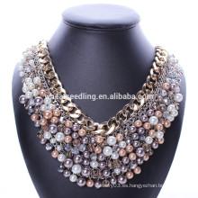 Collar de lujo negro grande de la perla de la marca de fábrica con el cristal