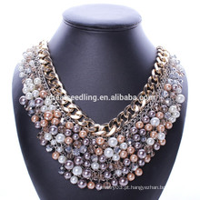 Grande marca de luxo colar de pérolas negras com cristal