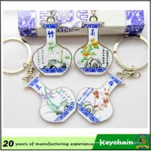 Porte-clés fait sur commande de porcelaine bleue et blanche de promotion