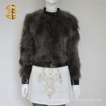 New Cool Style Grey Fox Inverno Fur Leather Jacket para mulheres