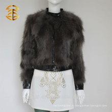 Новая круглая кожаная куртка зимы зимы зимы зимы для женщин