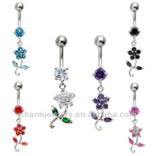 316L Surgical Steel Navel Belly Button Dermal Body Jewelry Charm Ring Flower Dangle BER-017