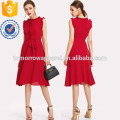 Frill Detail Self Belted Dress Manufacture Wholesale Fashion Women Apparel (TA3214D)