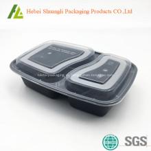 Черный пластиковый пищевой контейнер с прозрачной крышкой