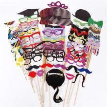 FQ marca lábios vermelhos óculos forma câmera adereços barba papel ofício