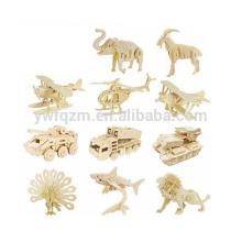 mode en bois populaire animal design puzzles 3d à vendre
