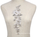 New collection fashional crystal and rhinestone flower patch lace applique RM369