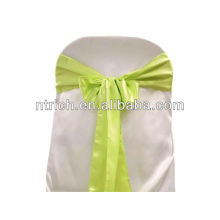 Satin vert pomme chaise grande ceinture, cravates de chaise, enveloppements pour hotel banquet mariage