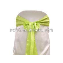 Faixa de cadeira cetim verde-maçã, laços de cadeira, quebra para hotel do banquete de casamento