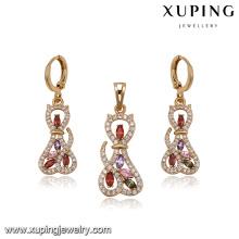 64268 2017 big fashion jewelry set luxury multicolor cat models diamond gold plated jewelry sets