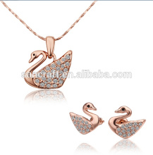 2014 NEW DESIGN FASHION JEWELRY SET, CHARM 18K GOLD PLATED SWAN JEWELRY SET, COSTUME NECKLACE EARRINGS JEWELRY SET
