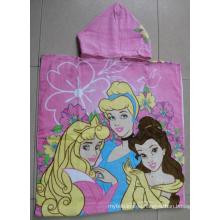 (BC-PB1007) Fashionable 100% Cotton Printed Kids Beach Poncho