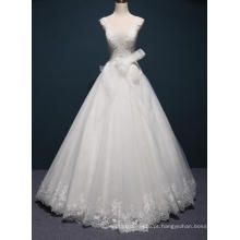 Vestidos de casamento nupcial do comprimento do assoalho do laço da venda