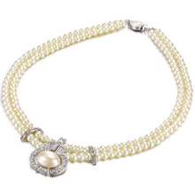 Popularne 2 warstw Pearl Beaded Necklace