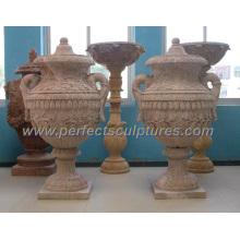 Stein Marmor Blume Vase für Garten Dekoration (QFP268)