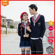Mode V-Ausschnitt Kabel gestrickt 100% Baumwolle Schuluniform Pullover