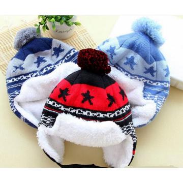 Moda hecha punto invierno Leifeng Baby Earmuff sombrero