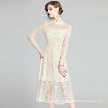 2020 spring and autumn dress new French waist slimming girl dress lace skirt