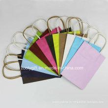 Vários cor Kraft Paper Gift Bag / Mini sacos de papel Kraft Handle