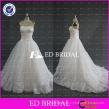 ЭД милая Свадебные ruched лиф кружева аппликация бисером Подол органзы свадебные платья Китай