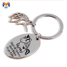 Metal unicorn keychain gift with name for him