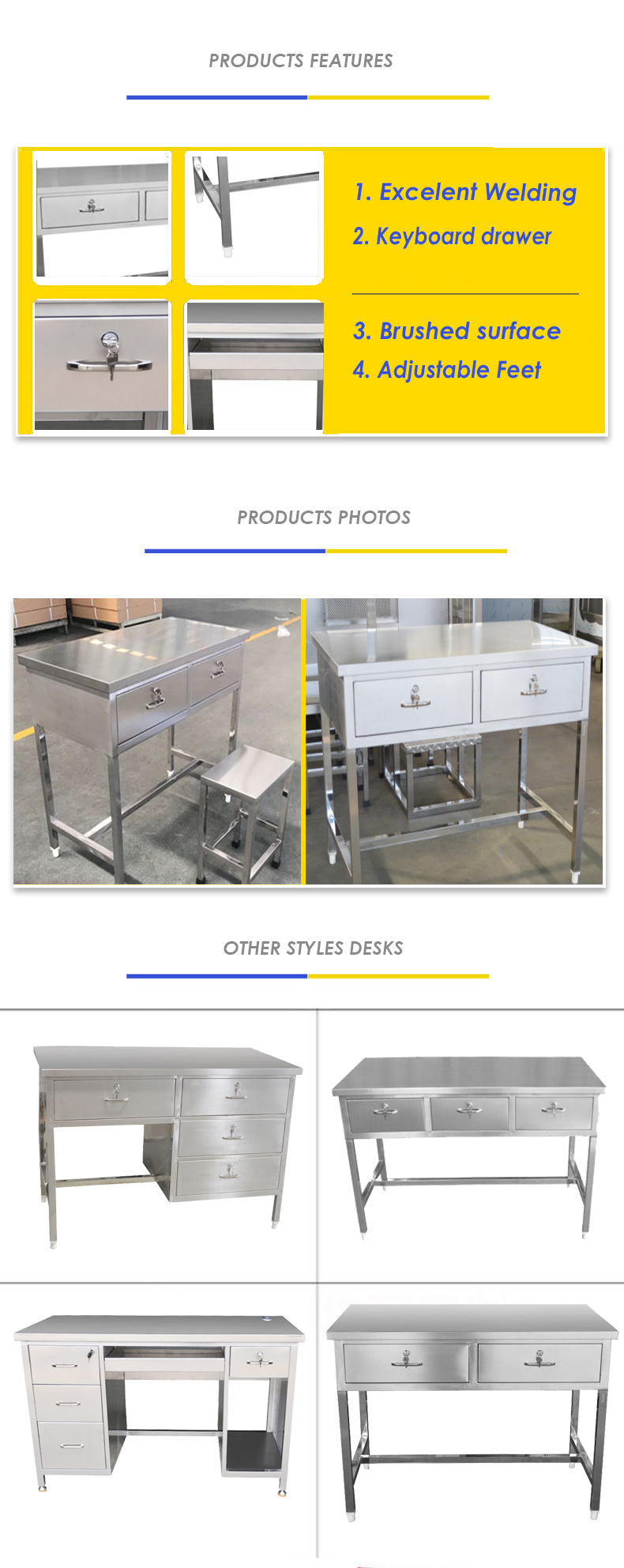 Stainless Steel Desk with drawers
