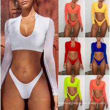 Sexy Long Sleeve Mesh Bikini Two Piece Bathing Suit Swimsuit