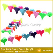 Customized Neon Color Anodized Surgical Steel Helix Piercing Heart shaped Ear Tragus