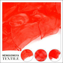 Nova moda atacado poliéster tecido chiffon vermelho bordado