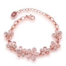 Moda ecológica de oro rosa pulsera de cristal de flores forma colgante encanto pulsera