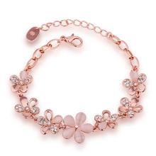Fashion Eco-Friendly Rose Gold Bracelet Crystal Flower Shape Pendant Charm Bracelet