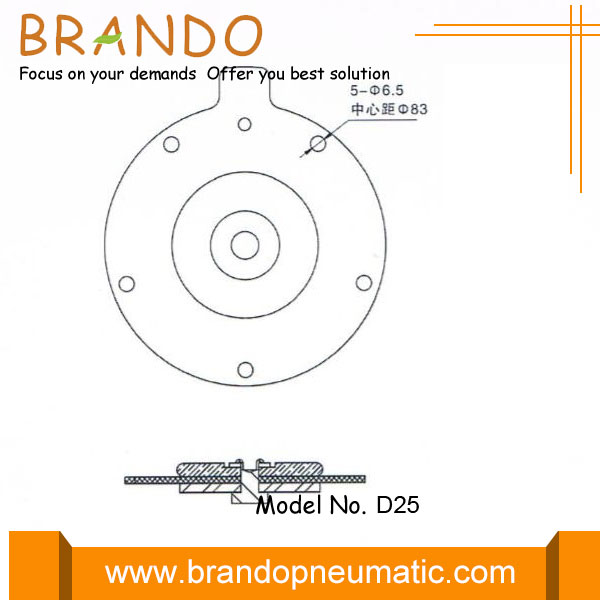 DMF-ZM-25 pulse valve diaphragm dimension