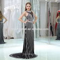 OEM service design see through bust dress evening sexy backless bodycorn bead black and white strip fishtail evening dress 2017