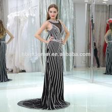Projeto do serviço do OEM ver através do vestido de busto noite sexy backless bodycorn bead preto e branco tira fishtail vestido de noite 2017