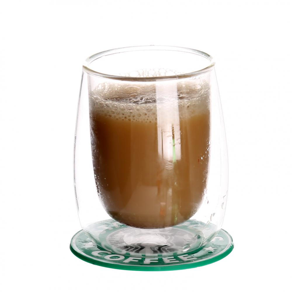 taza de leche de cristal de doble pared de 400ml
