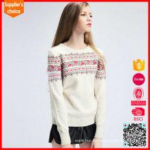 Suéter de las mujeres 2017 de manga larga jacquard cachemir suéter mujeres