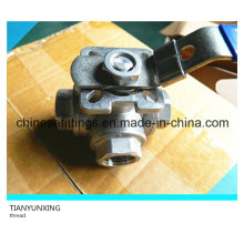 Three Way Lever CF8 Female Stainless Steel Thread Ball Valve