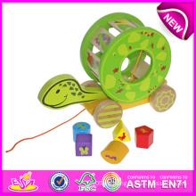 El juguete de carro de bloques de tortuga para niños, juguete de madera precioso Carro de juguete para niños, tirón lindo y juguete de empuje para bebé W05b071