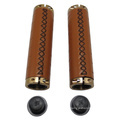 Motorcycle Leather Brown PU Handle Grips