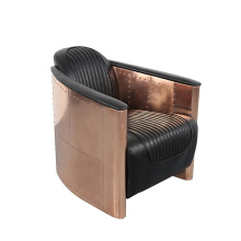 home Antique china leisure design bedroom Genuine Leather aluminum sheet canape couch living room furniture single sofa