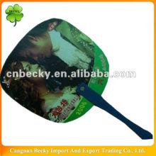 Good quality high praise durable printed pp plastic hand fan