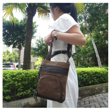 Wholesale Elegant Classical Leather Mix Canvas Holdall