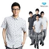 Latest brand design European style fancy fashion pure cotton short sleeve casual men print shirt