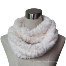 Women Fashion Faux Fur Infinity Scarf in Rose Pattern (YKY4378)