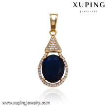 32921 Water drop newest designed gold pendant wholesale China inlay Sapphire jewelry