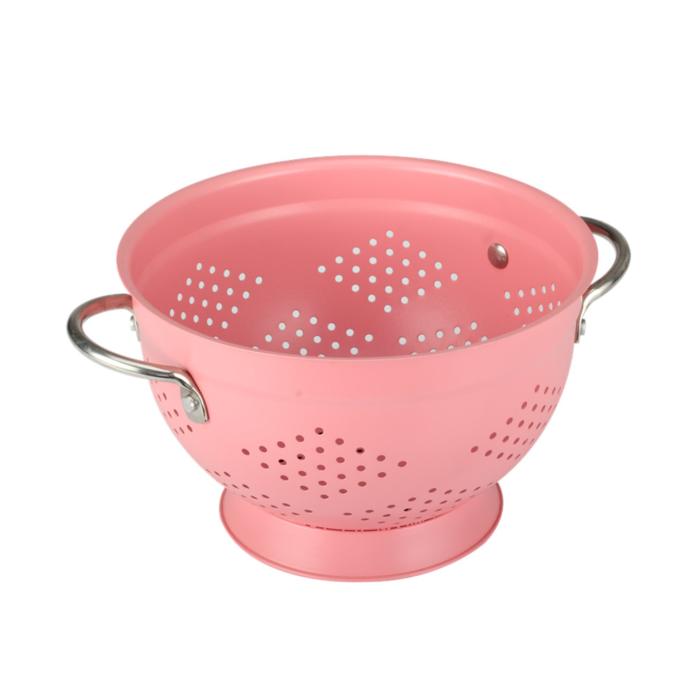 Food Grade Stainless Steel Painting Pink Fruit Colander