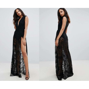 Lace Maxi Dress with Plunge Front
